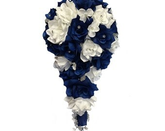 Cascade bouquet: Navy Blue White artificial flowers