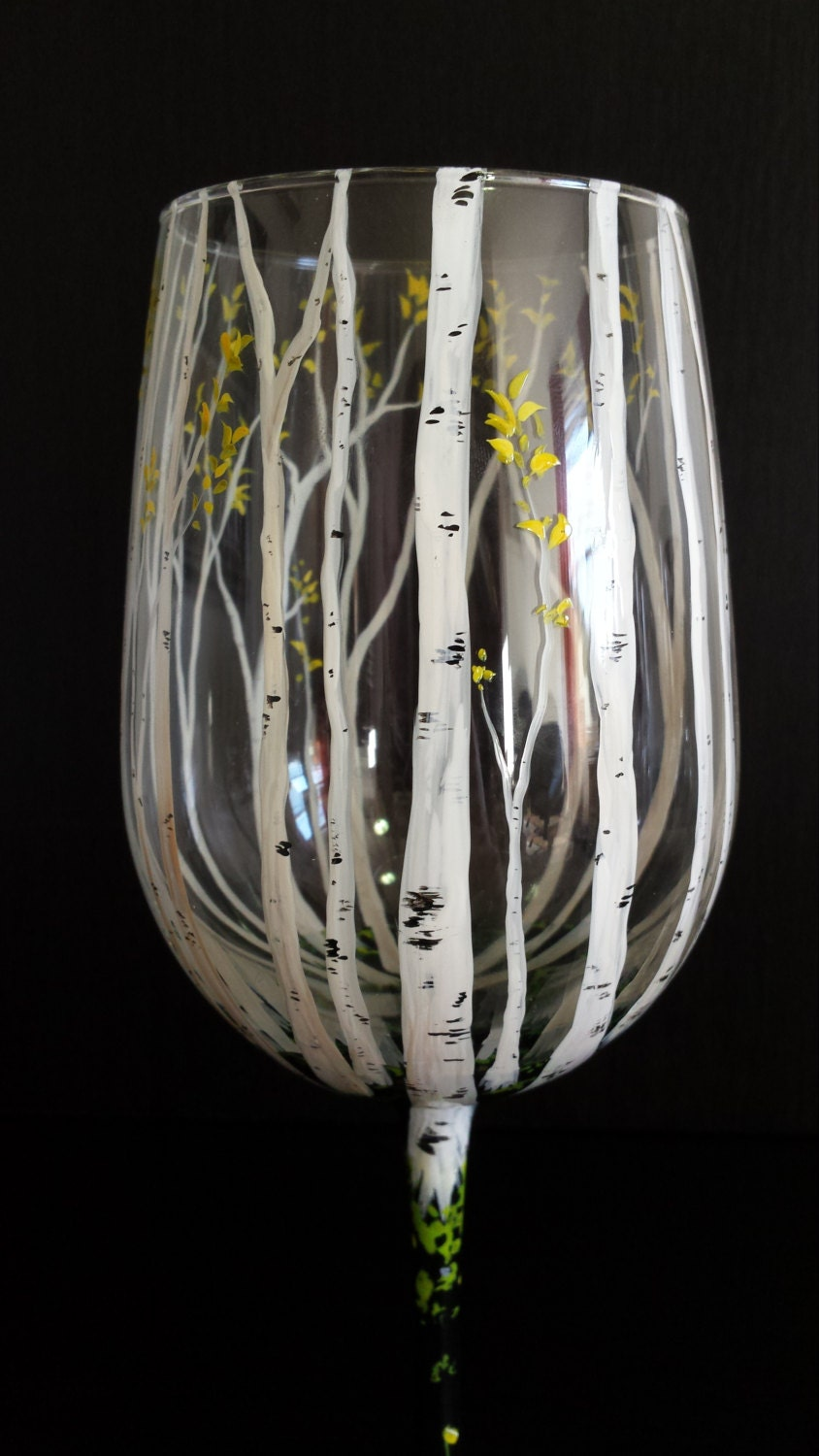 Birch tree hand painted wine glass white branches spring for Hand painted glassware