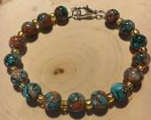Earth-Tone Beaded Bracelet w/ Lobster Clasp