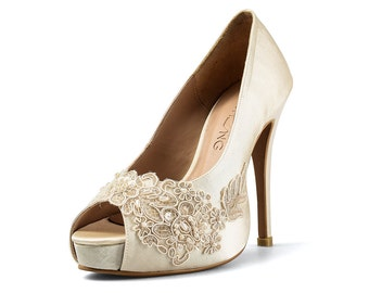 Miss Ace 2 Ivory Beige Lace Adorned Wedding Shoes,Ivory Lace Satin Bridal Heels,Beige Lace Wedding Shoes, Ivory Beige Pearl Bridal Heels