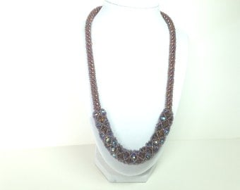 Topaz colored Czech Fire Polished Glass bead woven rope necklace