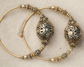 Beaded brass tribal hoop earrings