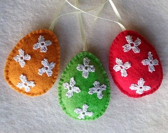 Easter Ornaments, Easter Eggs, Felt Eggs, orange, red & green