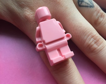 Pink resin lego minifigure adjustable ring