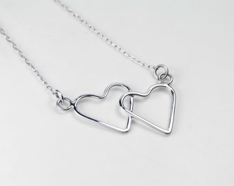 Sterling Silver Double Heart Necklace, Pendant, Handmade, Two Hearts, Valentines