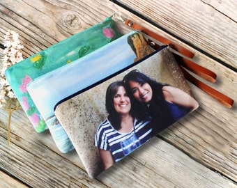 Birthday Gift Idea for Sister. Custom Personalized Photo Wristlet With Your Picture or Artwork- Birthday, Mother's Day or Holiday Gift