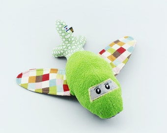 Cute Sensory Plane Airplane soft green terry - colorful checker and gray white dots fabric