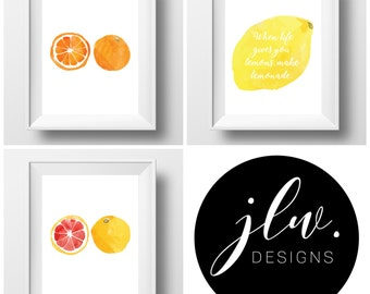 When Life Gives You Lemons Print Set of 3 / Digital Download / Wall Art / Printable / Citrus Watercolour Wall Art