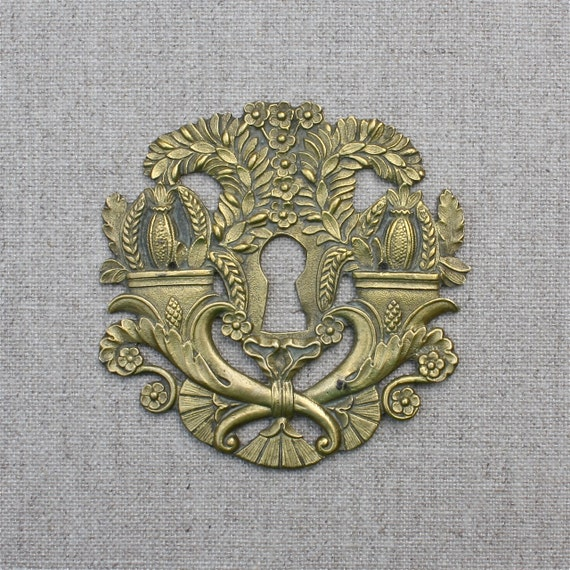 Antique French Key Hole Cover Escutcheon Cornucopia Flowers