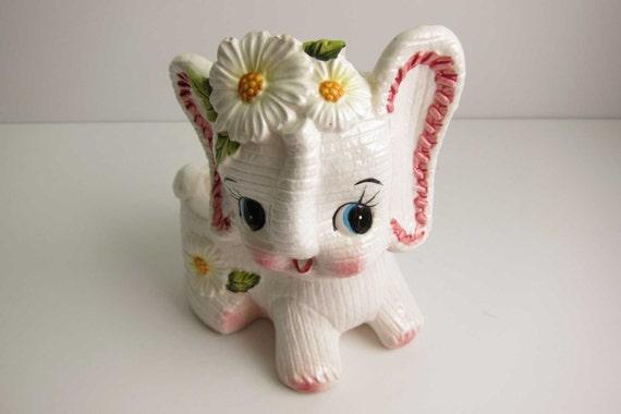 Vintage Kitsch Lefton Elephant Nursery Planter - Pink Daisy Flowers Cute Big Eyes Baby Elephant