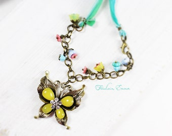 Paradise Butterfly chain silk multi colored pastel