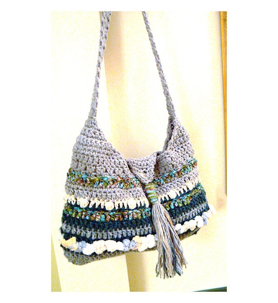 Grey crochet tassel handbag- Boho tab crochet purse-Grey green crochet bag- Crochet textured bag- Casual shoulder women purse- Purse Gift