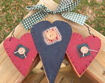 Three Hearts with buttons and a gingham ribbon