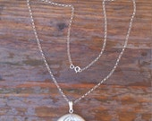 vintage large round sterling silver locket with chain