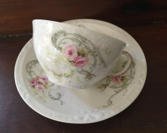 Half Price Haviland Sale, Antique Haviland Limoges Cup And Saucer, Schleiger 312, Roses, Antique Collectible,Cottage,ShabbyChic,Tea Party, R
