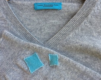 Light Grey Oversized 100% cashmere  sweater upcycled one size fits most SML by Three Whiskers Farm