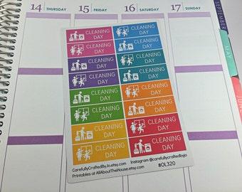 Cleaning Day Planner Stickers, Rainbow Sticker, Clean, Erin Condren, Plum Paper, MAMBI, planner accessory