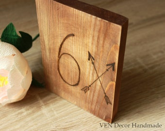 Wood Burned Table Numbers 1 - 10, Wooden Table Numbers, Boho Wedding Party Decor, Wedding Arrow, Camp Wedding, Rustic Forest Outdoor Wedding