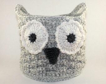 Owl Basket, Crochet Owl Basket, Crochet Storage Basket, Owl Storage Bin, Crochet Storage Bin, Crochet Owl Tote, Cotton Tote, Knit Owl Basket