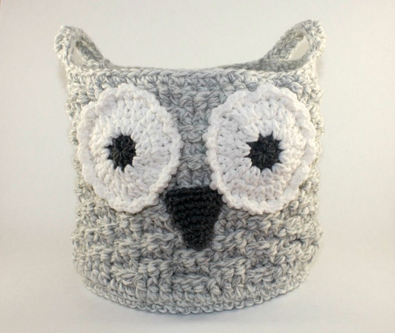 Crochet Owl Basket : Owl Basket, Crochet Owl Basket, Crochet Storage Basket, Owl Storage ...