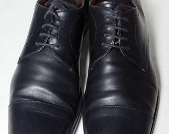 Prada Black Leather Derby Cape Toe Dress Shoes Men's Size 9.5