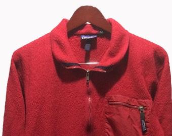 PATAGONIA Zip Up Fleece Retro Cardigan Sweater Red Men's Size M