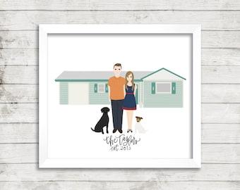 Custom Home Illustration PLUS Portrait Illustration  Couple Illustration  House Illustration  Family Portrait Illustration  Gift Idea