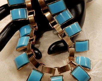 Vintage Turquoise Egyptian Style Thermoset Bib Style Necklace