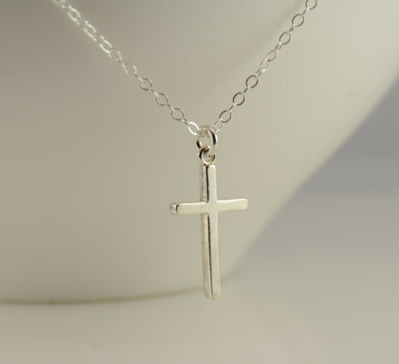 Silver cross necklace. Small silver cross necklace. Simple