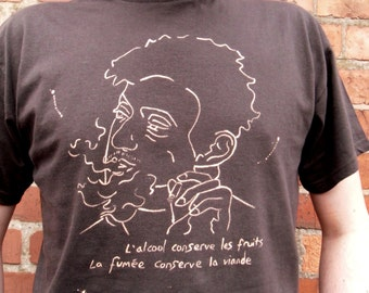 SERGE GAINSBOURG Hand Painted Cult Iconic Pop Art Retro Rock Band T-shirt