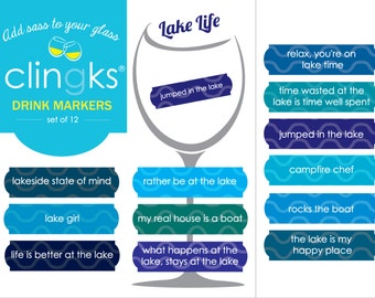 Lake Life Drink Markers~Lake-Themed Wine Charms~Drink Markers For The Cabin~Funny Wine Gift~Funny Wine Charm~Lake Gift~Clingks Drink Markers