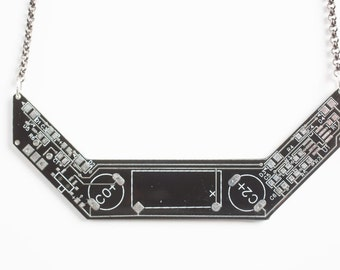 Black Chevron Circuit Board Necklace