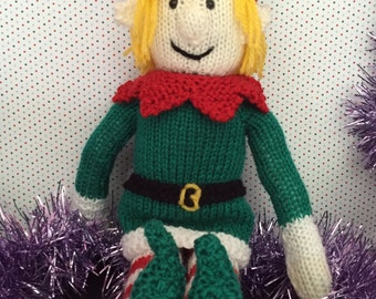 Hand knitted blonde elf, christmas decoration , christmas plushy, soft toy