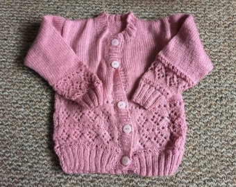 Pink knitted cardigan, pink sweater, toddler cardigan, toddler sweater
