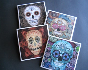 sugar skulls day of the dead ceramic tile coasters skull coasters drink