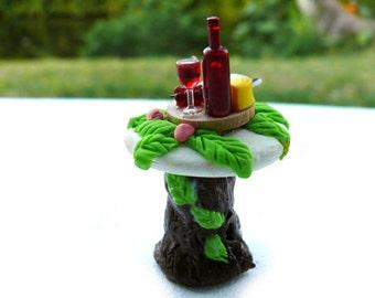 Wine and Cheese Table Tree Stump Miniature Fairy Garden