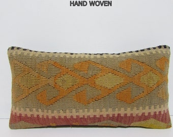 NOMADIC Bohemian Home Decor,Handwoven Turkish Kilim Lumbar Pillow Cover 12x24,Decorative Kilim Pillow,Lumbar Kilim Pillow,Throw Pillow F744