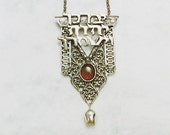 Kabbalah Necklace. The LORD Bless You. Blessing Pendant. Kabbalah in Handmade. Silver Priestly Blessing. Red Garnet Gem.  FREE SHIPPING!