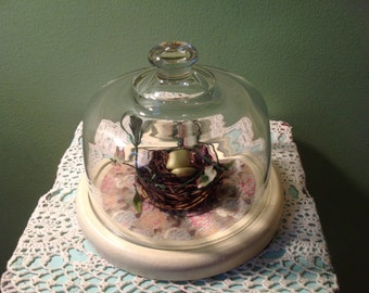Decoupaged Cheese Tray With Bird Nest and Glass Dome