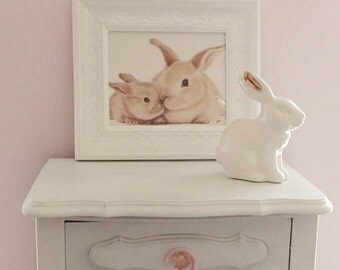 5 x 7 Bunny Art Print from Original Animal Drawing - Nursery Art Print - Mother and Baby Bunny, 5 x 7 in