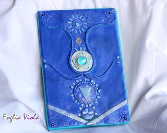 Tree of life journal water element shaman book blue Celebration hope OOAK witchcraft witch mirror pagan diary notes notebook