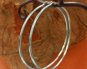 Sterling Silver Large Hoop Earrings, 925 Rhoudium Plated Hoop Earrings 2mm X 65 outside diameter