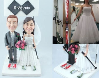 Skiing couple - Personalised wedding cake topper  (Free shipping)