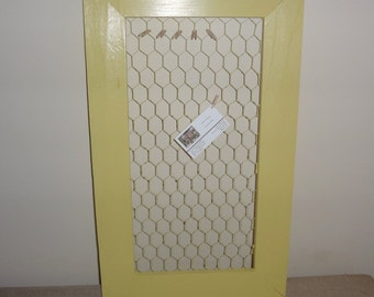 Painted Yellow Frame Wood Chicken Wire Style Wire Mesh Wall Hanger Utensil Holder Memo Board - Country Farm Theme