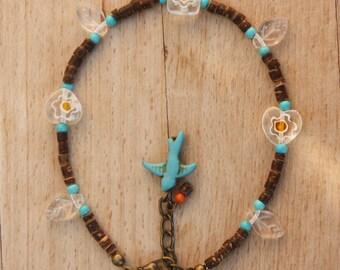 Flower Heart Millefiore Beads Coconut Anklet