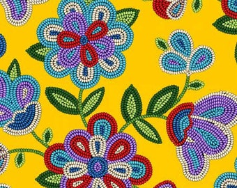 Native beadwork design fabric with sunshine yellow background.