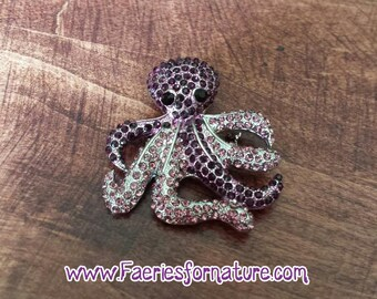 Purple Kraken Brooch/Kraken Brooch/Kraken Jewelry/Octopus Brooch/Octopus Jewelry/Octopus/Kraken/Rhinestone Octopus/Rhinestone Kraken