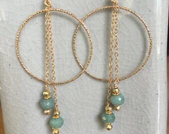 Aquamarine and Pyrite dangle on Gold fill hoop earrings