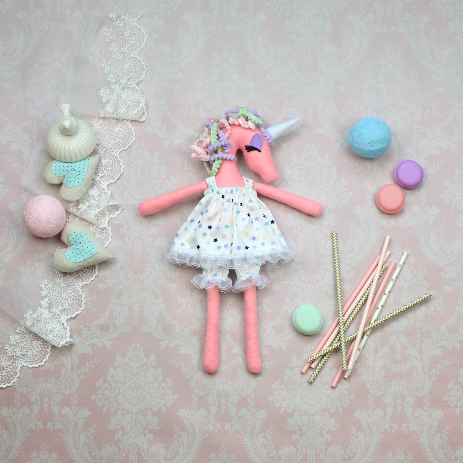 Plush unicorn doll Felt stuffed unicorn toy Cloth doll Art ...