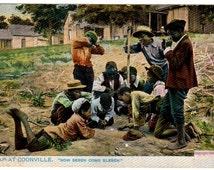 """Crap at Coonsville """"Now Seben come Eelben"""" Tuck Dixie Series 1896"""